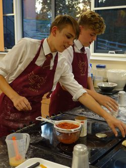 Boy students in Food Technology class