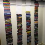 Reading tower of books