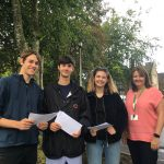 Headteacher Helen Cullen with students on results day