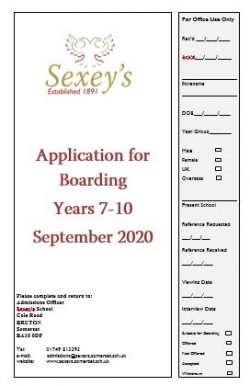 Boarding Admissions form