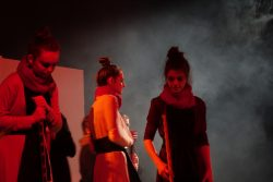 Students amidst the smoke in King Lear