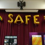 SAFE DAY balloon sign