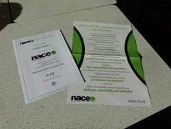 Sexey's certificates from the National Association for Able Children in Education