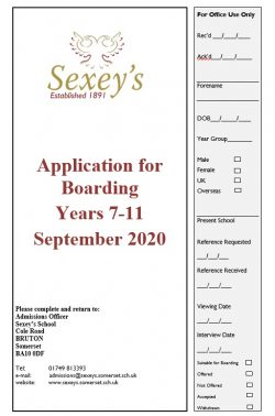 Image of front page of boarding application