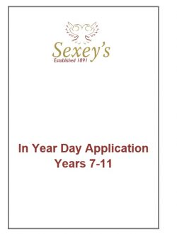 Image of front page of in year day admissions application