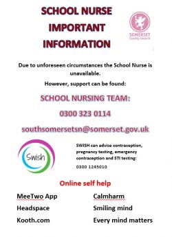 school nurse contact details poster during school closure