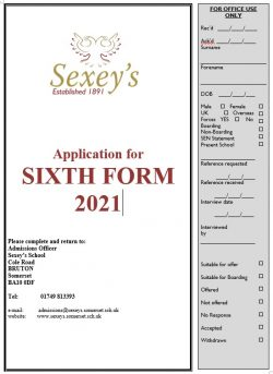 screenshot of application form 2021
