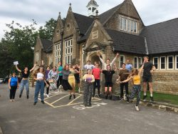 social distanced joy on a level results day at Sexey's School
