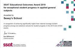 SSAT award certificate for progress