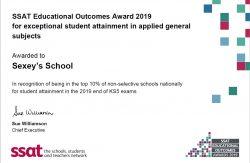 Top 10% certificate from SSAT award