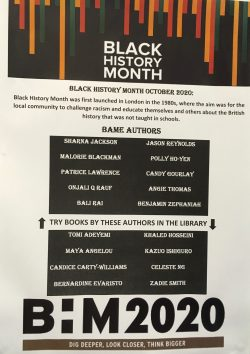 A selection list of BAME authors available to read in Sexey's School's library