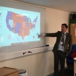 Politics teacher shows map of votes in US election