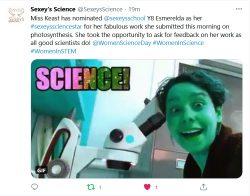 @sexeysscience tweet about star science pupil esmerelda